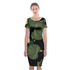 Tropical Vintage Yellow Hibiscus Floral Green Leaves Seamless Pattern Black Background  Classic Short Sleeve Midi Dress by Sobalvarro