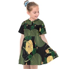 Tropical Vintage Yellow Hibiscus Floral Green Leaves Seamless Pattern Black Background  Kids  Sailor Dress by Sobalvarro