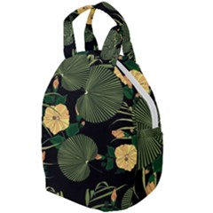 Tropical Vintage Yellow Hibiscus Floral Green Leaves Seamless Pattern Black Background  Travel Backpacks by Sobalvarro