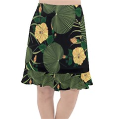 Tropical Vintage Yellow Hibiscus Floral Green Leaves Seamless Pattern Black Background  Fishtail Chiffon Skirt by Sobalvarro