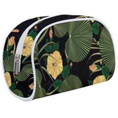 Tropical Vintage Yellow Hibiscus Floral Green Leaves Seamless Pattern Black Background  Make Up Case (medium) by Sobalvarro