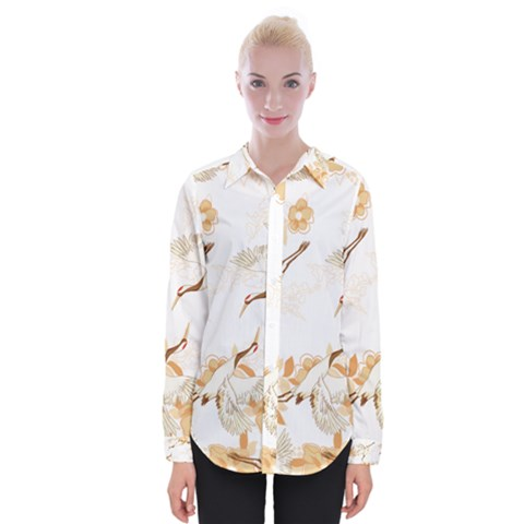 Birds And Flowers  Womens Long Sleeve Shirt by Sobalvarro