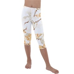 Birds And Flowers  Kids  Lightweight Velour Capri Leggings