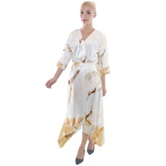 Birds And Flowers  Quarter Sleeve Wrap Front Maxi Dress by Sobalvarro