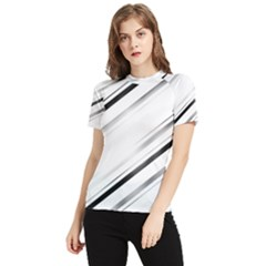 High Contrast Minimalist Black And White Modern Abstract Linear Geometric Style Design Women s Short Sleeve Rash Guard