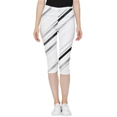 High Contrast Minimalist Black And White Modern Abstract Linear Geometric Style Design Inside Out Lightweight Velour Capri Leggings  by dflcprintsclothing
