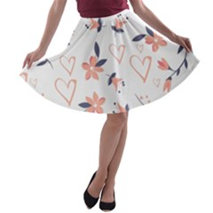 Flowers And Hearts A-line Skater Skirt