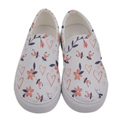 Flowers And Hearts Women s Canvas Slip Ons