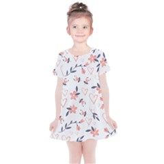 Flowers And Hearts Kids  Simple Cotton Dress