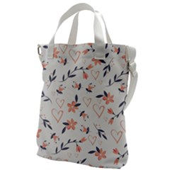 Flowers And Hearts Canvas Messenger Bag
