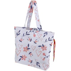 Flowers And Hearts Drawstring Tote Bag