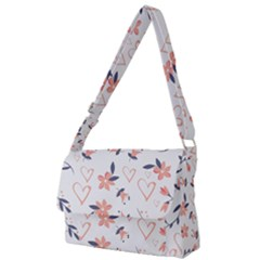 Flowers And Hearts Full Print Messenger Bag (l)