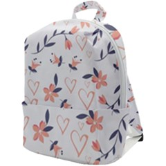 Flowers And Hearts Zip Up Backpack