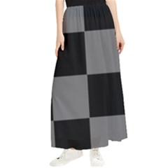 Black Gingham Check Pattern Maxi Chiffon Skirt by yoursparklingshop