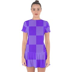 Purple Gingham Check Squares Pattern Drop Hem Mini Chiffon Dress