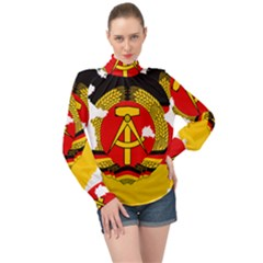 Flag Map Of East Germany (1959¨c1990) High Neck Long Sleeve Chiffon Top