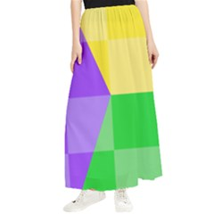 Purple Yellow Green Check Squares Pattern Mardi Gras Maxi Chiffon Skirt by yoursparklingshop