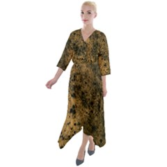 Orange Grunge Print Quarter Sleeve Wrap Front Maxi Dress by dflcprintsclothing