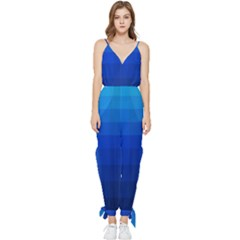 Zappwaits Water Sleeveless Tie Ankle Jumpsuit by zappwaits