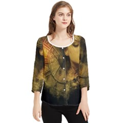 Surreal Steampunk Queen From Fonebook Chiffon Quarter Sleeve Blouse