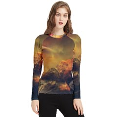 Tiger King In A Fantastic Landscape From Fonebook Women s Long Sleeve Rash Guard