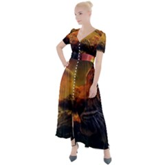 Tiger King In A Fantastic Landscape From Fonebook Button Up Short Sleeve Maxi Dress