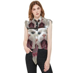 Wow Kitty Cat From Fonebook Frill Detail Shirt