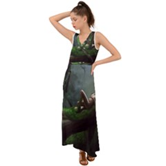 Wooden Child Resting On A Tree From Fonebook V-neck Chiffon Maxi Dress