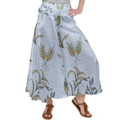 Blue Botanical Plants Satin Palazzo Pants