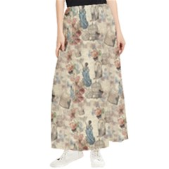 Victorian Spring Woman Pattern Maxi Chiffon Skirt by Abe731
