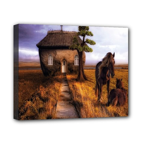 Strange House And Horses From Fonebook Canvas 10  X 8  (stretched)