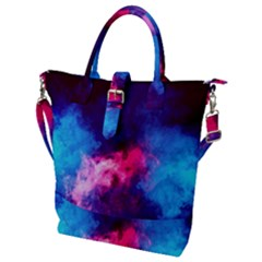 Colorful Pink And Blue Disco Smoke - Mist, Digital Art Buckle Top Tote Bag