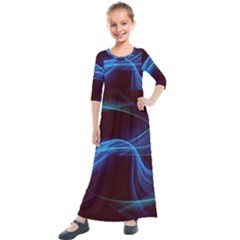 Light Waves In Blue And Green, Graphic Art Kids  Quarter Sleeve Maxi Dress
