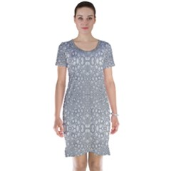 Modern Ornate Geometric Silver Pattern Short Sleeve Nightdress