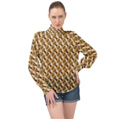 Abstract Illusion High Neck Long Sleeve Chiffon Top