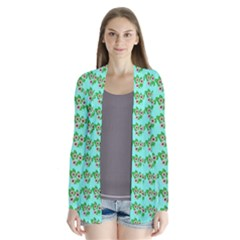 Flowers Pattern Drape Collar Cardigan by Sparkle
