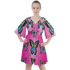 Butterfly Boho Button Up Dress