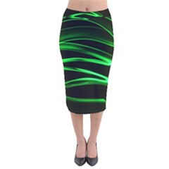 Green Light Painting Zig-zag Velvet Midi Pencil Skirt