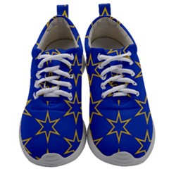 Star Pattern Blue Gold Mens Athletic Shoes