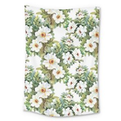 White Flowers Large Tapestry