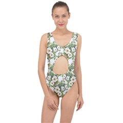 White Flowers Center Cut Out Swimsuit
