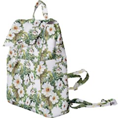 White Flowers Buckle Everyday Backpack by goljakoff