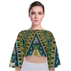 Native Mandala Tie Back Butterfly Sleeve Chiffon Top