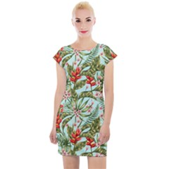 Spring Flora Cap Sleeve Bodycon Dress by goljakoff