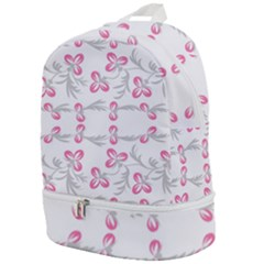 Pink Folk Flowers Zip Bottom Backpack