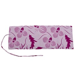 Dark Pink Flowers Roll Up Canvas Pencil Holder (s)