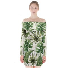 Tropical Leaves Long Sleeve Off Shoulder Dress by goljakoff