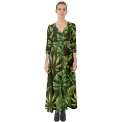 Green Tropical Leaves Button Up Boho Maxi Dress by goljakoff