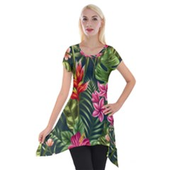 Tropic Flowers Short Sleeve Side Drop Tunic by goljakoff