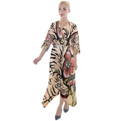 White Tiger Quarter Sleeve Wrap Front Maxi Dress